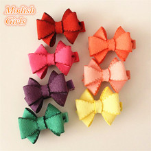 2015 Novelty Good Quality Chamois Leather Bow Hair Clips for Baby Girls Children's Bowknot Hair Accessory Kids Jewelry 20pcs/lot