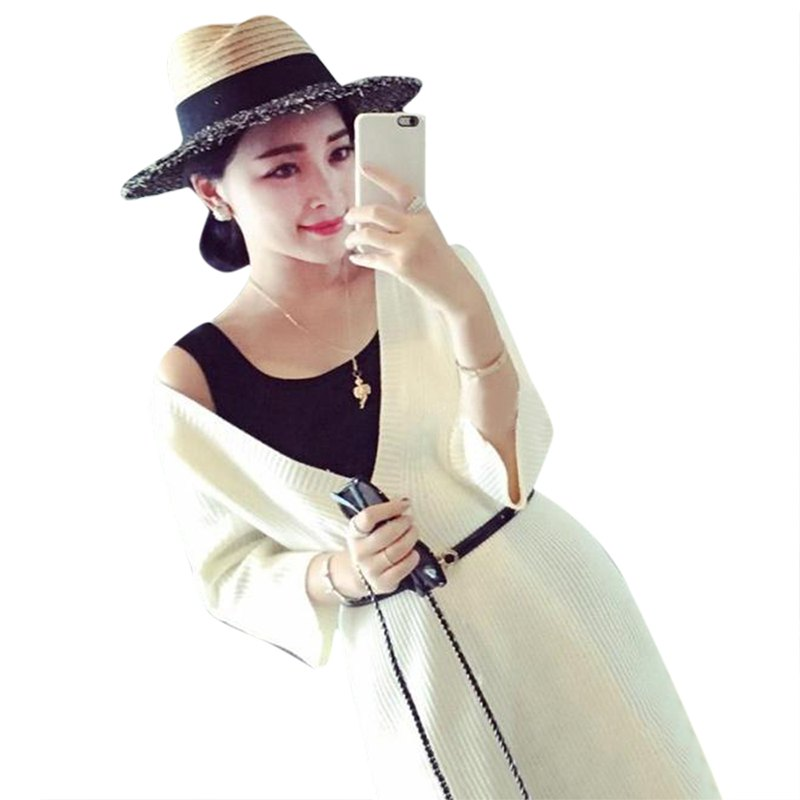 2015 New Long Casual Maxi Loose Women Fall Sweater V-Neck Thin Fashion White Black Army Green 3/4 Sleeve Pollover Sweater(China (Mainland))