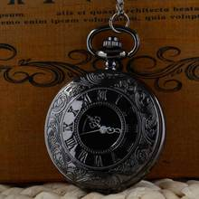 Retro Roman Numeral Vintage Pocket Watch Black For a gift Brand New Antique Steam punk Quartz Necklace P316