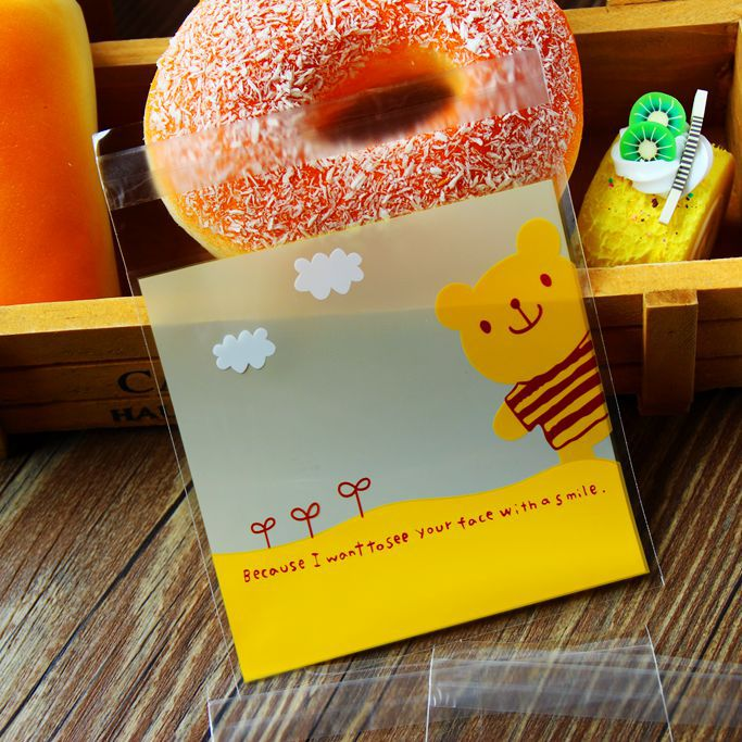 Cookie Packaging yellow bear Self-adhesive Plastic Bags for Biscuits Snack Baking Package(China (Mainland))