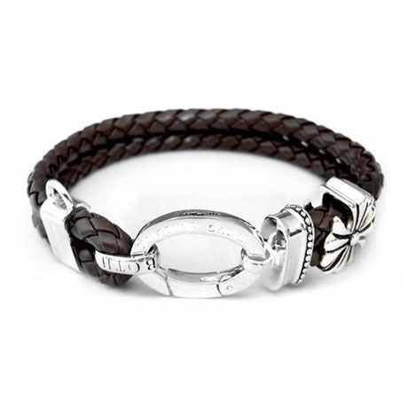 European Style Fashion Bracelet 925 Silver Double Round Brown Leather Rope Punk Charm Bracelet TMS-MBR079<br><br>Aliexpress