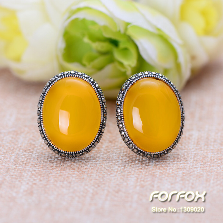 925 Sterling Silver Oval Yellow Chalcedony Stud Earrings with Marcasite for Women Girls Free Shipping<br><br>Aliexpress