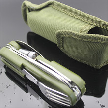 Outdoor Tableware with LED light Stainless Folding Camping Tool Multi Function Dinnerware Fork/Spoon/Knife/ Bottle Opener Set(China (Mainland))