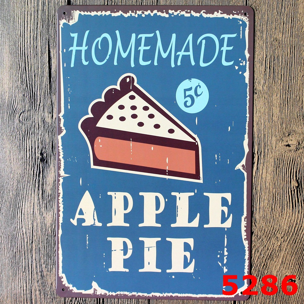 1 Pcs Home made apple pie wall decalsmetal tin signs plate painting Home decoration wall decor Wall art Wall stickers New 2016  sc 1 st  AliExpress.com & High Quality Decorative Pie Plates Promotion-Shop for High Quality ...