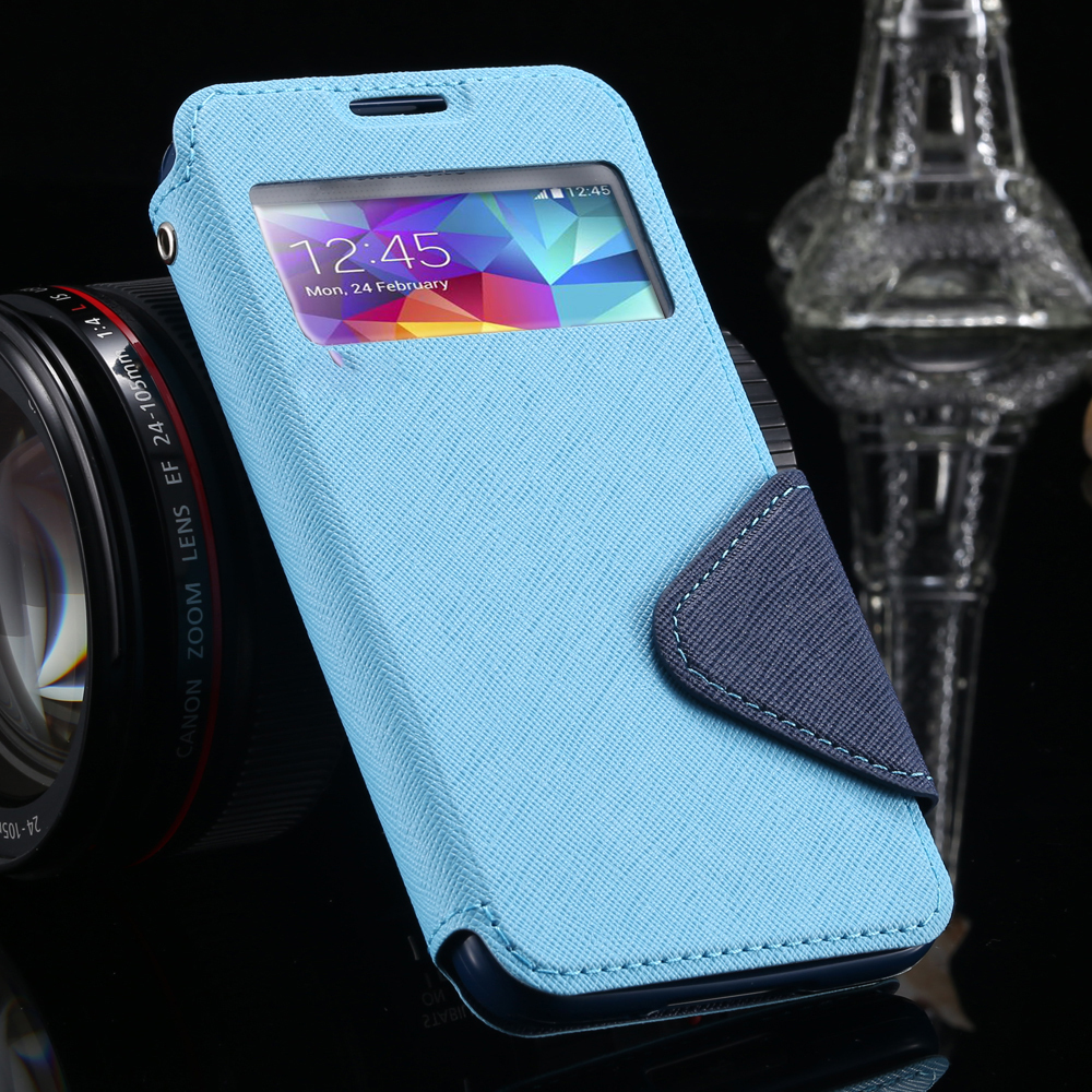 S4 Cases Luxury View Window Flip Leather Phones Case For Samsung Galaxy S4 I9500 SIV Card Slot Holster Back Cover For Galaxy S4(China (Mainland))