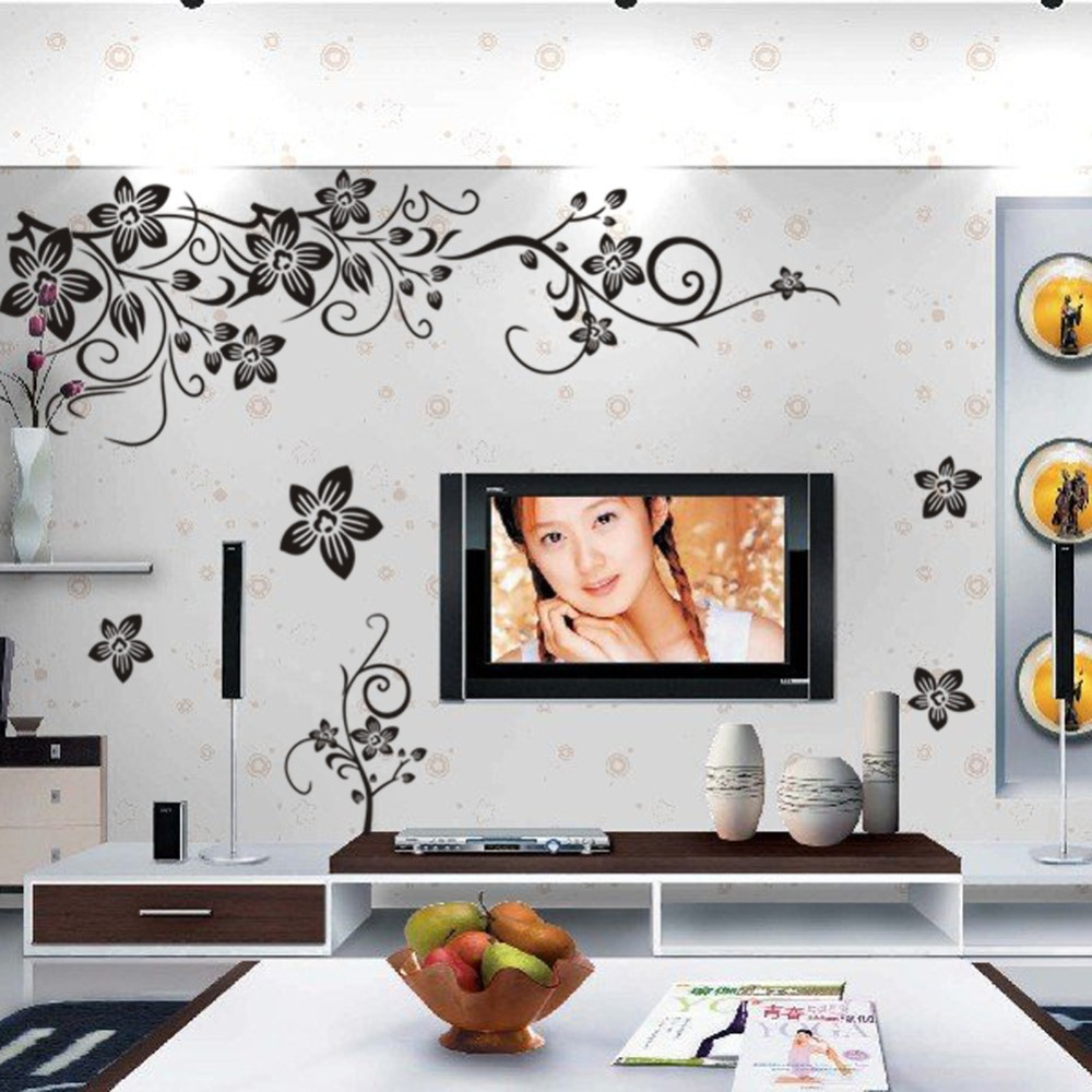 Hot sale DIY Wall Art Decal Decoration Fashion Romantic Flower Wall Sticker/Wall Stickers Home Decor 3D Wallpaper Free Shipping(China (Mainland))