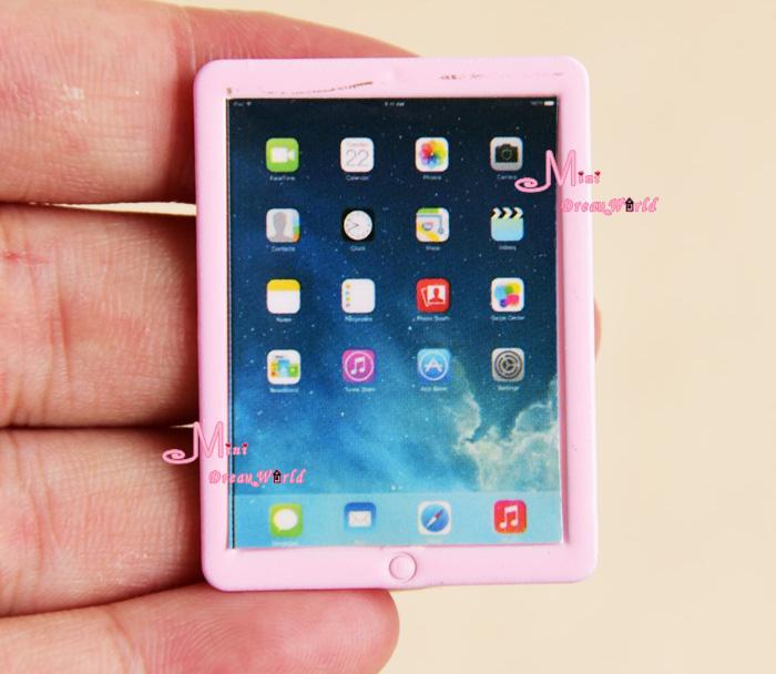 Dollhouse Miniature 1:12 Toy Metal Big Screen Pink Mini Laptop Length 3.9cm(China (Mainland))