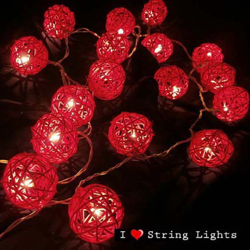 Thailand 5m 20 Rattan Balls Red Sepak Takraw LED String Lights Garlands For Hotels Fence Bar Wedding Christmas Party Decorations(China (Mainland))