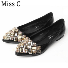 Buy Luxury Rhinestone Women Flats 2017 Fashion Beading Pointed Toe Shoes Women Spring Fall Slip Ladies Loafers Sizes 34-43 WFS202 for $14.99 in AliExpress store
