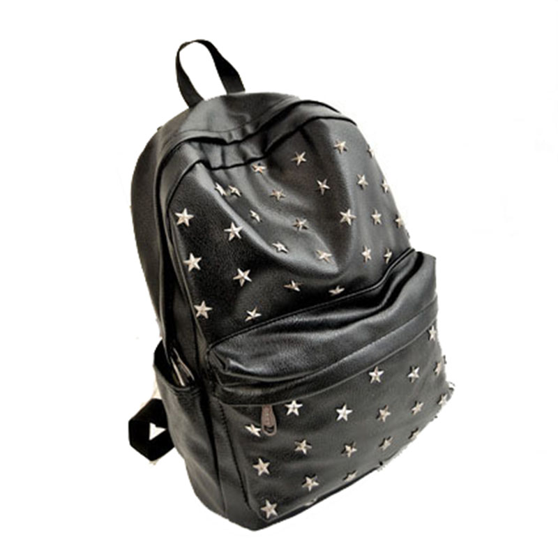 2015 New Arrived Fashion General Cross Five Star Rivet Backpack School Bags Women's Travel Bags Casual Daypacks(China (Mainland))