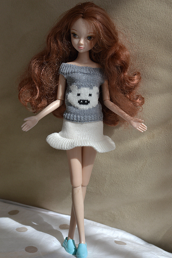Sweater + Shorts/skirt,New 2016 Inexperienced & White & Black Wool Knit Lint Sweater Winter Put on Clothes Outfit For Kurhn Barbie Doll