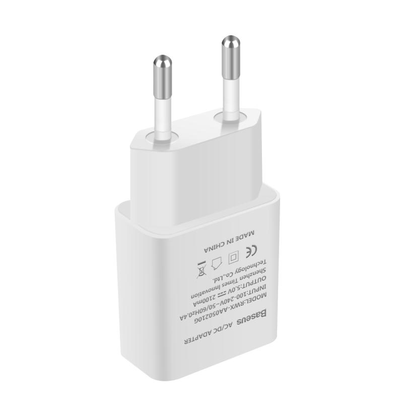 BASEUS 5V2.1A Universal Travel USB Charger Adapter Wall Portable EU Plug Mobile Phone Smart Charger for iPhone Tablet Samsung
