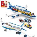 New Original Sluban Blue Airbus Airplane Model Building Blocks 483pcs DIY Educational Bricks toy Compatible with