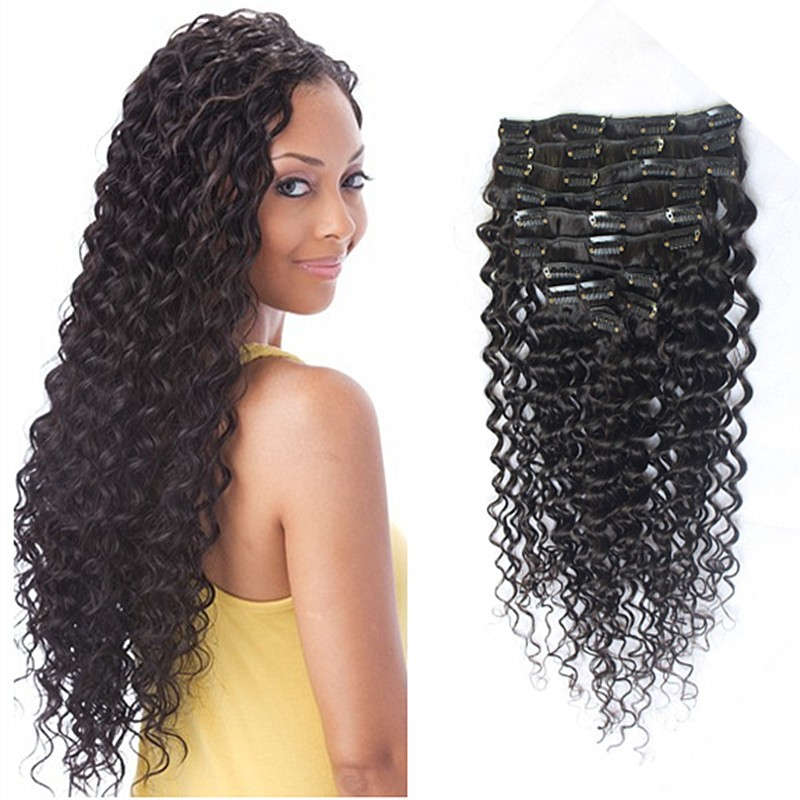 Full Shine High Quality Brazilian Hair Deep Wave Clip in Extensions Natural Color 7 PCS Clip in Human Hair Extensions