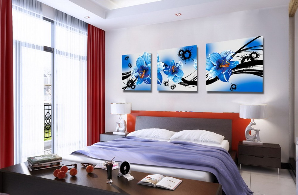 3 Piece Home Decoration Modern Canvas Wall Art blue flower Oil Painting Picture Print On Canvas For Bedroom with strecher framed(China (Mainland))