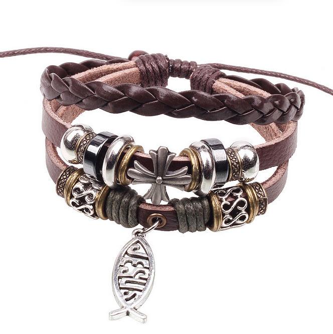 BA139 Wholesale Handmade Fish Jesus Charm Genuine Leather Adjustable Bracelet Wristband Jewelry Valentine's Day Gift Men Woman(China (Mainland))