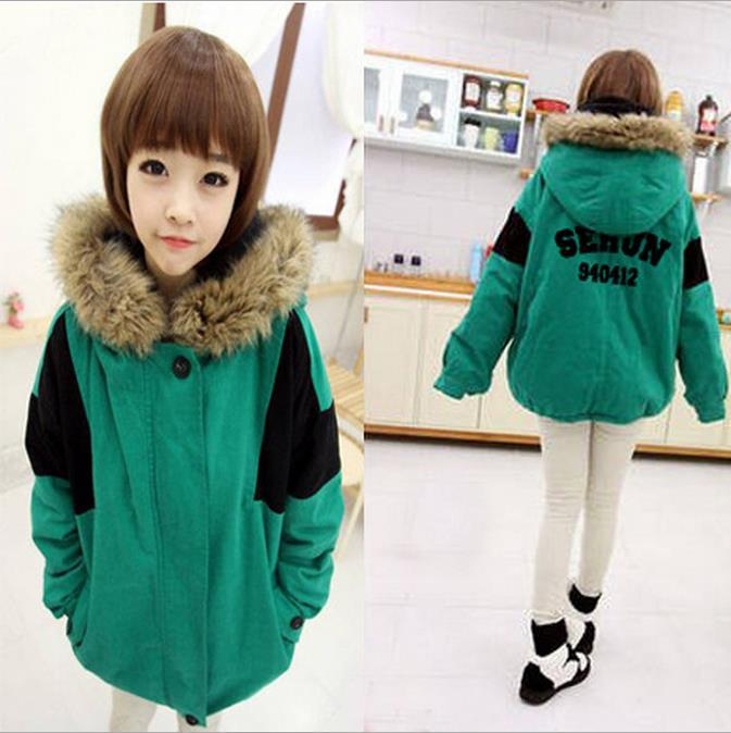 Cotton hooded jacket, blue kpop EXO models big yards thick long coat loose pop EXO k k pop LAY hoodie sweater Fleece clothing(China (Mainland))