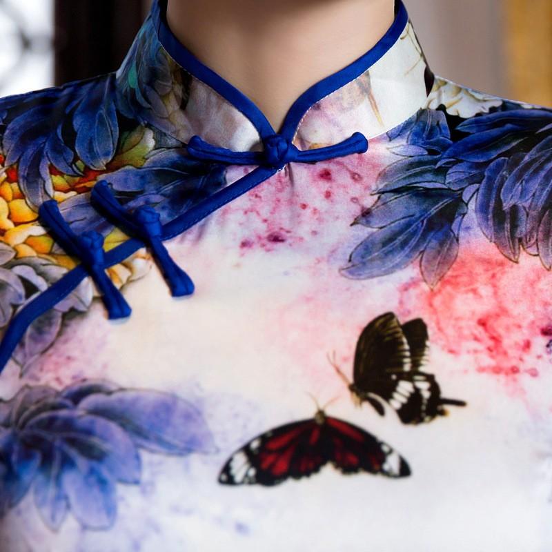 มาใหม่สตรีผ้าไหมยาวCheongsamจีนแฟชั่นสไตล์การแต่งกายที่สวยงามบางQipaoรสเสื้อผ้าขนาดSml XL XXL F072603 ถูก