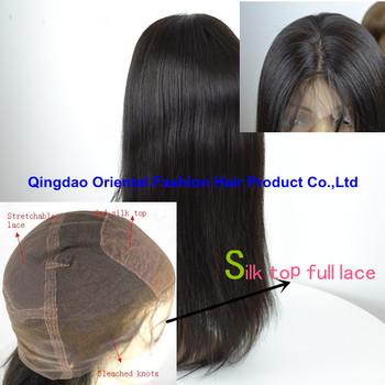Customized 24 inch silky straight Brazilian hair silk top full lace wigs