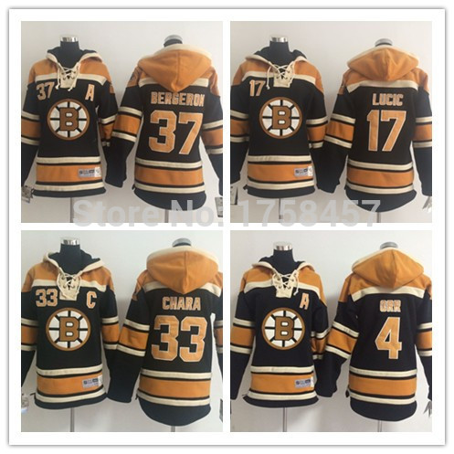 Christmas gift! Youth Boston Bruins hooded Jersey #4 Bobby Orr #17 Milan Lucic #33 Zdeno Chara #37 Patrice Bergeron Hockey Hoodi