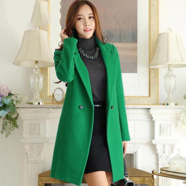 Ladies Green Wool Coat | Down Coat