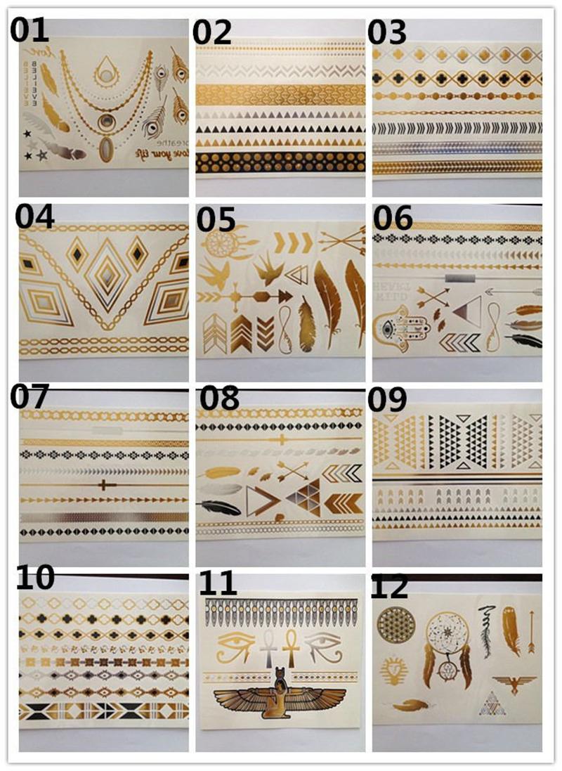 12 Sheet New body art metallic temporary tattoo sexy product jewelry bracelet flash tattoo gold tatoo henna tattoos tatuagem(China (Mainland))