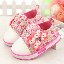 2016 new fashion Kids Children shoes Baby Girls shoes soft bottom canvas Baby toddler shoes floral flowers sneakers(China (Mainland))