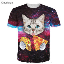 women men summer style tee Taco Cat T-Shirt cute cat kitten with blue eyes eating tacos pizza in space galaxy t shirt tshirt