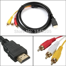 Wholesale Black 1080P 5 Ft 1.5m HDMI-Male To 3 RCA Cable Video Audio HDMI HDTV VGA 3 AV Cord Adapter For HDTV New best price
