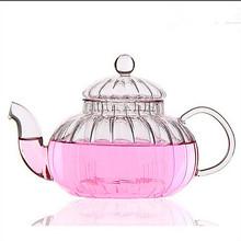 Free shipping pumpking glass teapot, 600ml clause flower tea tea pot, tea kettle(China (Mainland))
