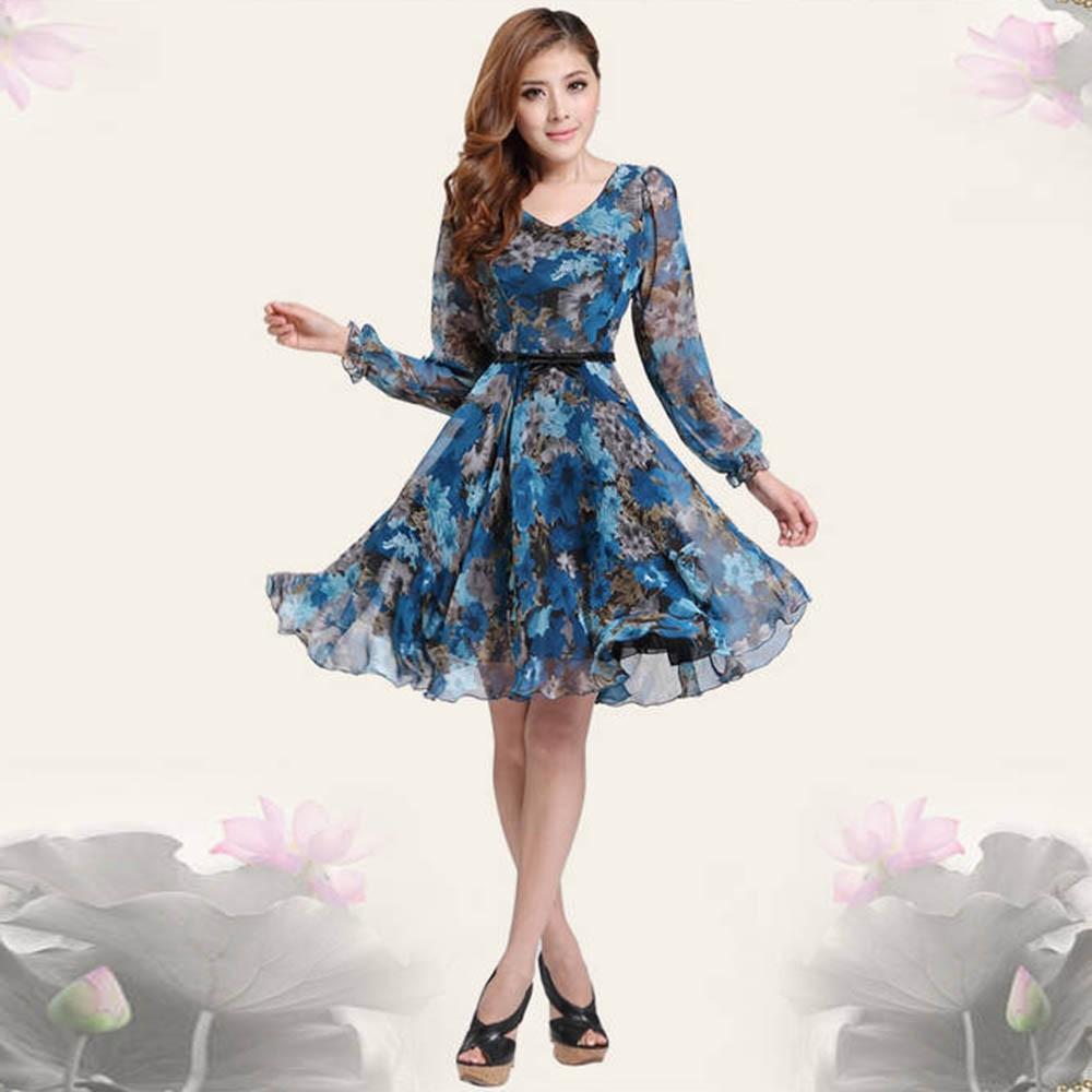 vintage womens v neck floral long sleeve chiffon midi dresse
