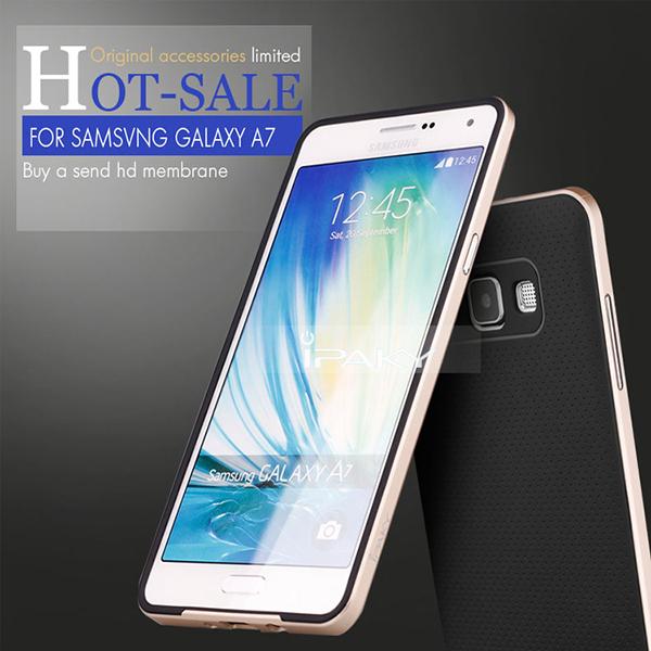 Original IPAKY Case for Samsung Galaxy A7 Soft TPU Back Cover Aluminum Frame Cellular Phone Bag Cover Free Screen Protector(China (Mainland))
