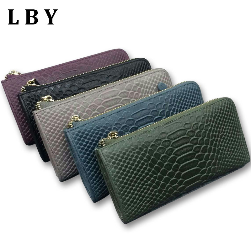 100% Genuine Leather Wallet Female Alligator High Quality Phone Purses Women Carteras(China (Mainland))