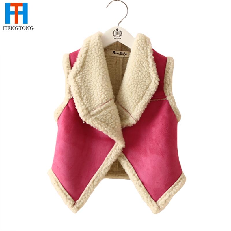 Retail 2015 spring and winter kids fleece vest girls waistcoat designer kids vest girl's jacket fur vest for 2-6 years(China (Mainland))