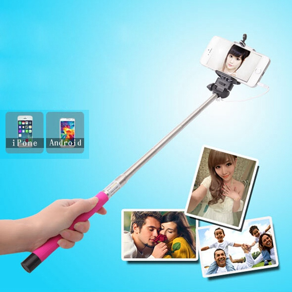 Cable Self-Portrait Pole Extendable Hand Held Monopod Tripod Clip Holder For Digital Camera Phone For iPhone for Samsung for LG(China (Mainland))