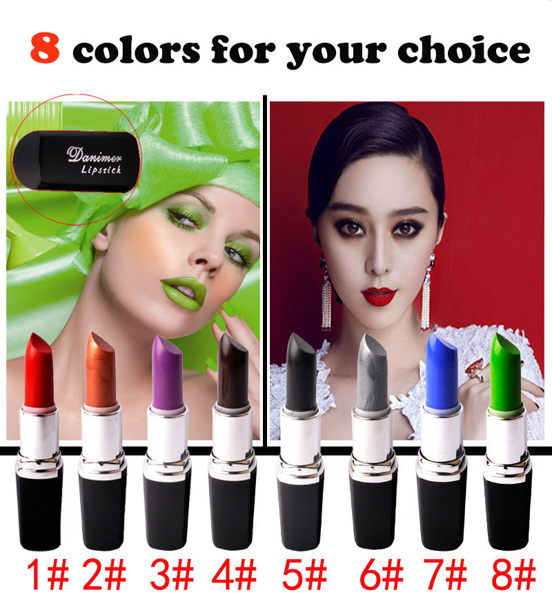 8 colors cosplay gothic Vampire Style waterproof lipstick long lasting Makeup matte black lipstick 3.5g lip stick JZ085(China (Mainland))
