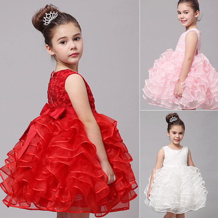 2015 Summer Style Girl Dresses For 4-10 Years Old Kids Rose Pattern Toddler Girls Lace Flower Tutu Dress(China (Mainland))