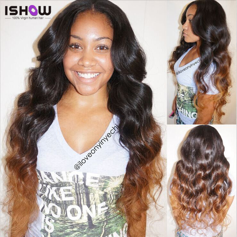 Three Tone Ombre Brazilian Hair Bundles Brazilian Virgin Hair Body Wave 100% Human Hair Weaving Brazilian Ombre Body Wave Hair