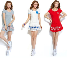 Бег спорт одежда комплект леди в теннис одежда комплект T — рубашки с платья / бадминтон одежда