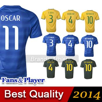 Brasil camisa longe Brasil amarelo azul NEYMAR JR OSCAR PELE Brasil de futebol Camisetas de Futbol(China (Mainland))
