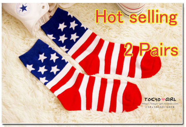 Free shipping American flag stars stripes socks pure cotton socks cotton socks in tube socks
