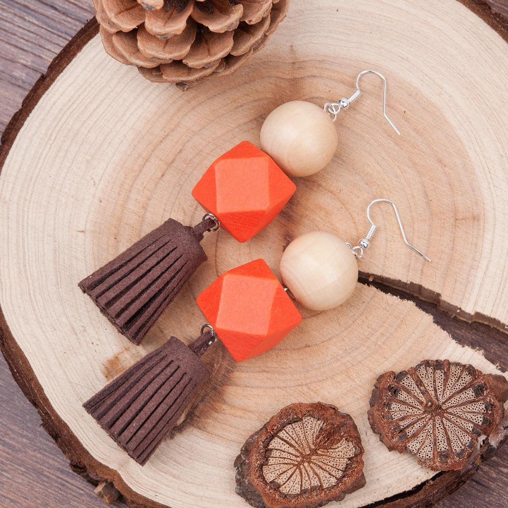 NEW Women Fashion Jewelry Handmade silver plated Orange Color Round Wood beaded Korea Velvet Coffee tassel Pendant earring 1Pair(China (Mainland))
