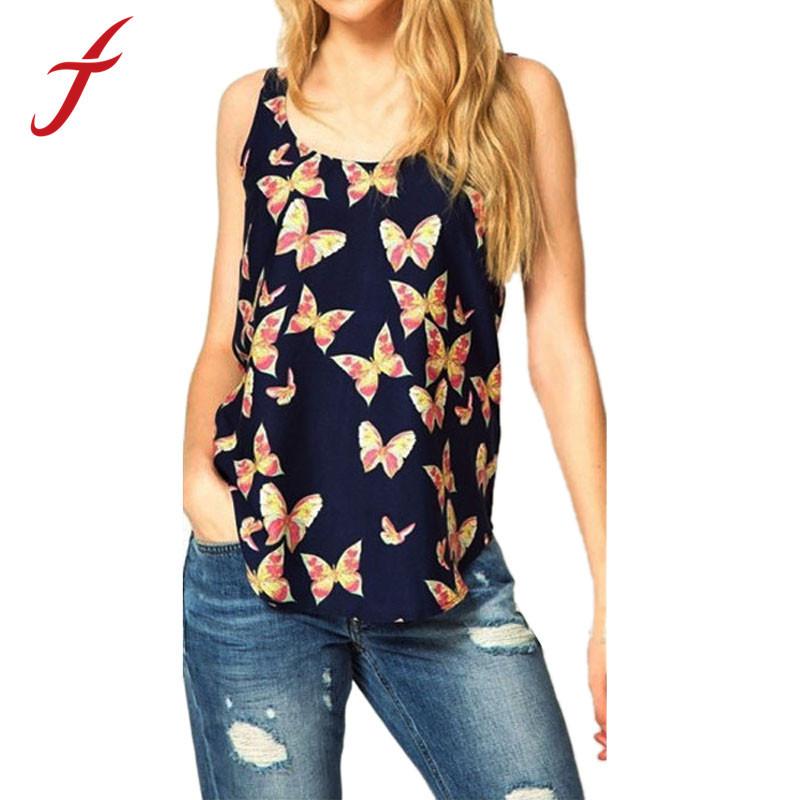 Feitong 2015 1PC Women Summer Butterfly Printed Sleeveless Chiffon Tank Top Shirts Crew Vest - store