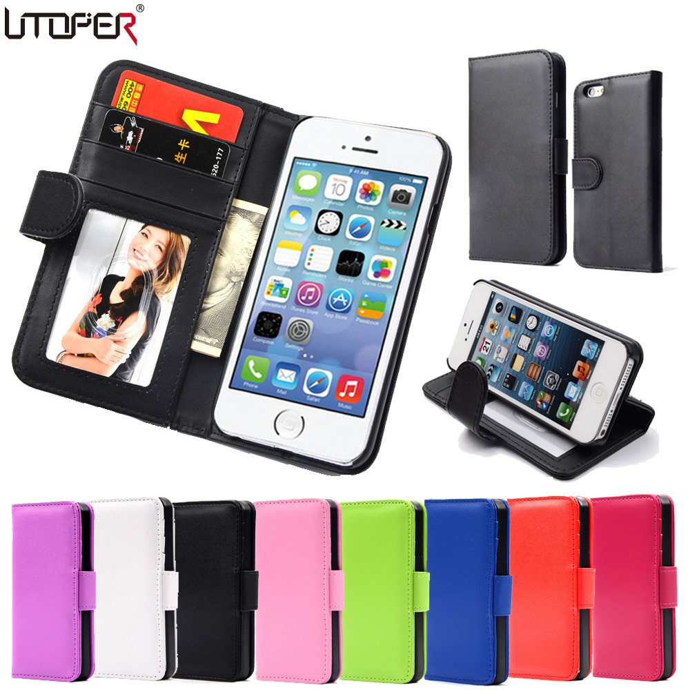 Hot Wallet Flip PU Leather Case Apple iPhone 4 4S 4G Magnetic Photo Frame Card Holder Smart Stand Skin Bags Cover - UTOPER Official Store store