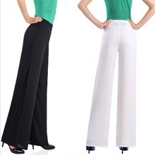 New Womens Wide Leg Pants Summer Loose Thin Brand Women Pants Chiffon Zipper Style Ladies Baggy Pants Black White XS S 3XL 4XL(China (Mainland))