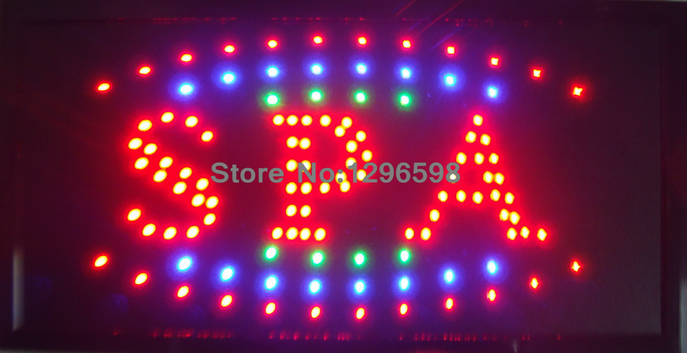 2017 Graphics New Neon Spa shop open sign eye catching Flashing Lights Animated Led Sign 10X19 inch- Wholesale(China (Mainland))