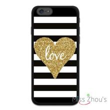 Golden Glitter Heart Stripes back skins mobile cellphone cases for iphone 4/4s 5/5s 5c SE 6/6s plus ipod touch 4/5/6