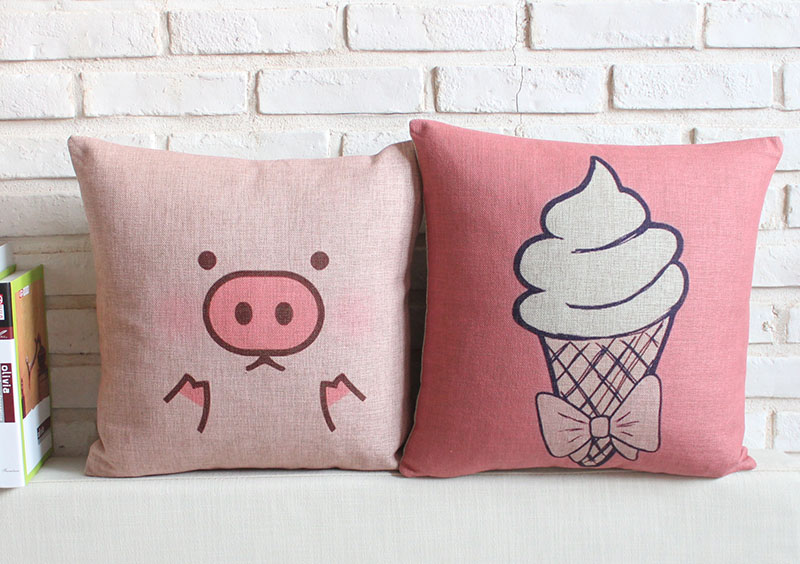 Free shipping Christmas gift cute pink pig icecream Pattern linen cushion cover home car cafe decorative throw pillow case(China (Mainland))