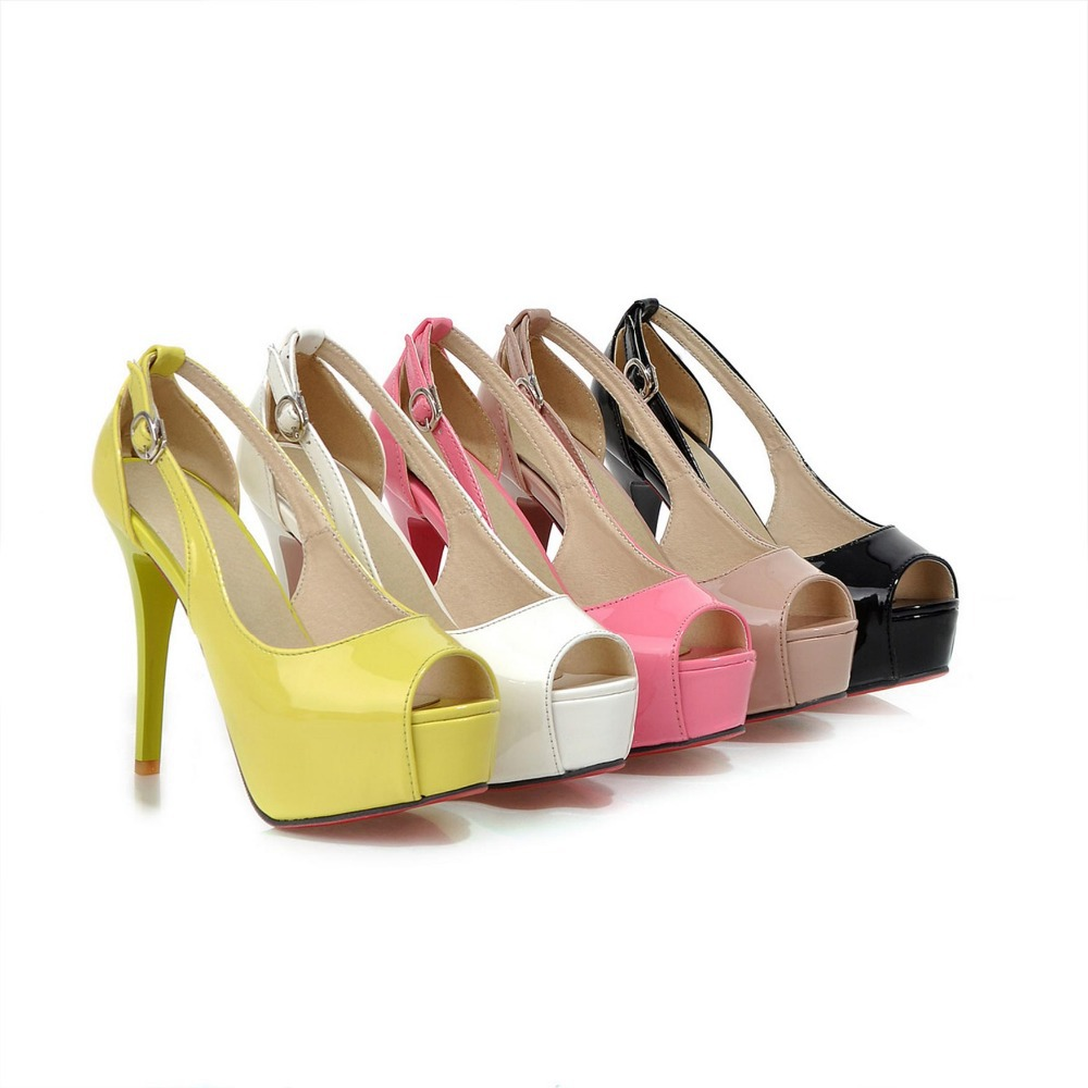 2015 summer new fashion sexy high-heeled shoes fish head buckle candy colored solid color comfortable womens sandals heels D183<br><br>Aliexpress