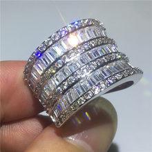 בעבודת יד גדול הצהרת טבעת 925 כסף AAAAA מעוקב Zirconia קוקטייל נישואים טבעות לנשים גברים ערב המפלגה תכשיטים(China)